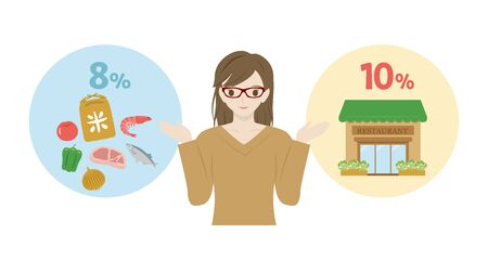 Japanese woman showing reduced tax rate. Comparison between buying food and eating out.
