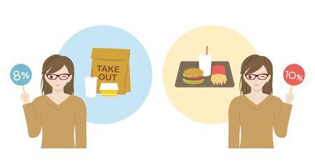 Mujer japonesa que muestra el tipo impositivo reducido. Comparación entre sacar comida rápida y comer en la tienda.