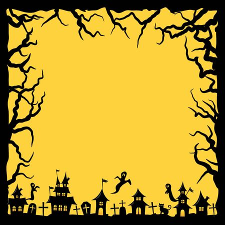 Halloween land scape vector frame.