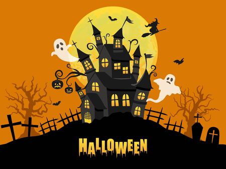 Halloween image vector illustration. Haunted house and spooky full moon.