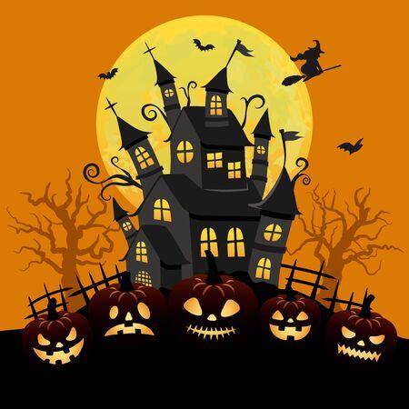 Halloween image vector illustration. Haunted house and spooky full moon. Archivio Fotografico - 129222188