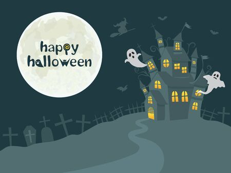 Halloween image vector illustration. Haunted house and spooky full moon. Standard-Bild - 129222191