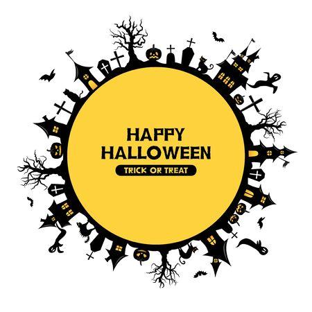 Halloween land scape vector logo. Standard-Bild - 129222190