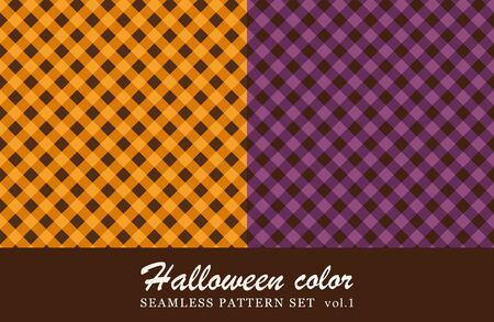 tartan check seamless pattern set. halloween color. Stock Illustratie