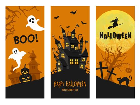 Halloween image vector card set. ghost and haunted house and spooky full moon. Иллюстрация