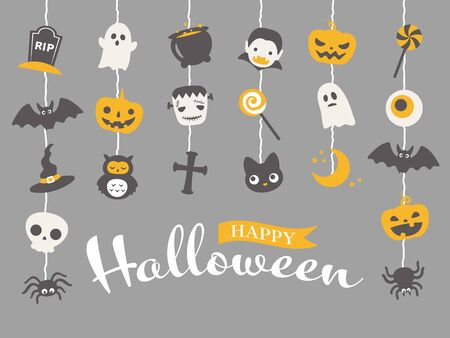 Halloween cute character vector illustration.