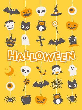 Illustrazione vettoriale di Halloween simpatico personaggio. Vettoriali