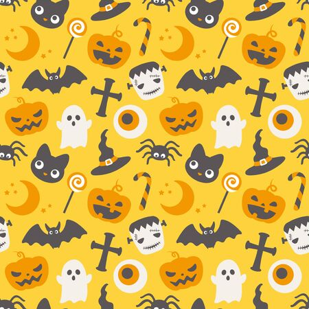 Happy halloween vector seamless pattern.  イラスト・ベクター素材