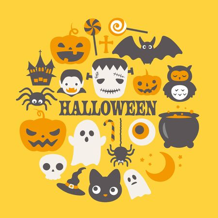 Halloween funny character vector round label.