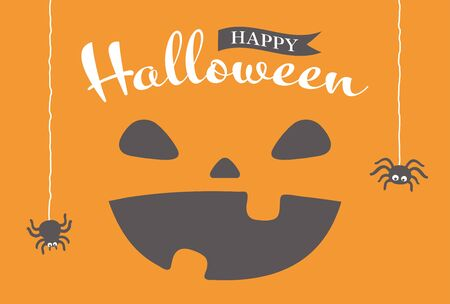 Halloween funny pumpkin greeting vector card. Ilustração