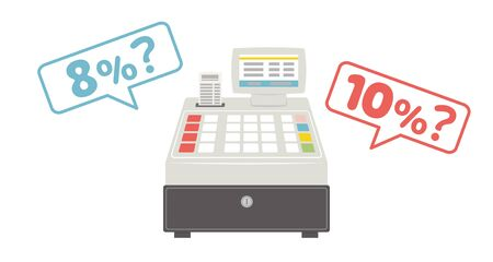 Cash register worried whether the tax rate is 10% or 8% in Japanese.