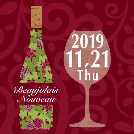 Beaujolais nouveau classic design in 2019 vector illustration.