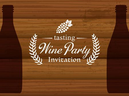 Wine party vector invitation card template. Иллюстрация