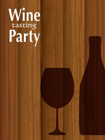 Wine party vector invitation card template. Illustration