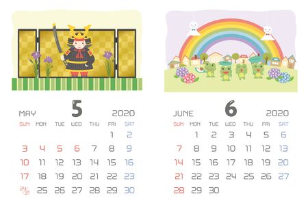 calendar template for 2020 year with Japanese events. May, June.