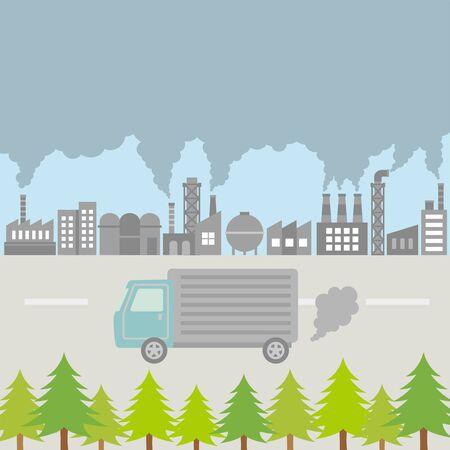 Cityscape with air pollution and cedar pollen. vector illustration. Vetores