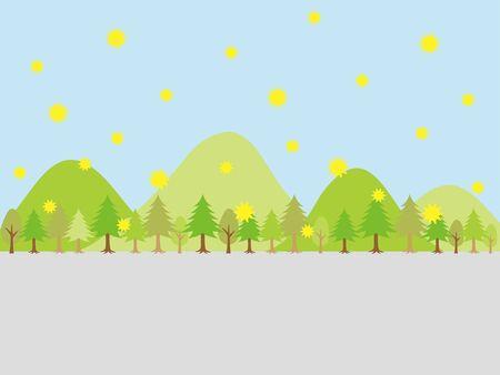 Cityscape with cedar pollen. vector illustration.