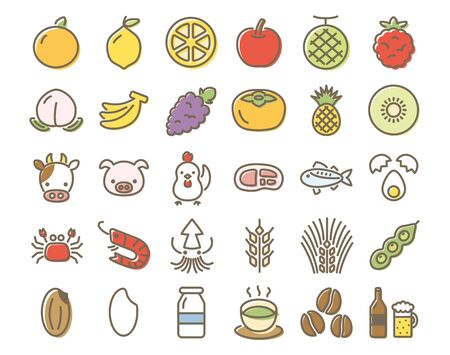 food and drink colorful vector icon set.