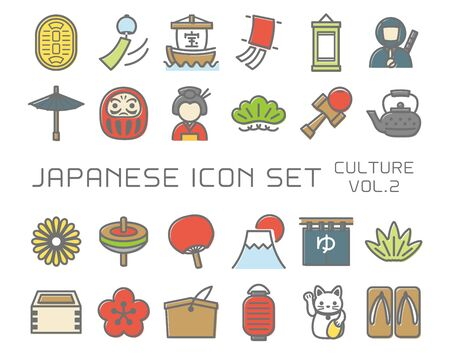 Japanese culture vector icon set. vol.2