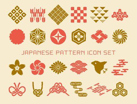 Ensemble d'icônes vectorielles modèle traditionnel japonais et enveloppe. conception de timbre. Vecteurs