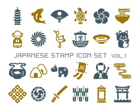 Japanese culture vector stamp icon set. vol.1 Vektorové ilustrace