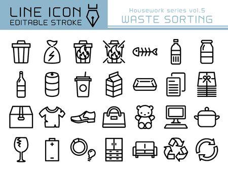 Waste sorting vector icon set. Editable line stroke. Vektorgrafik