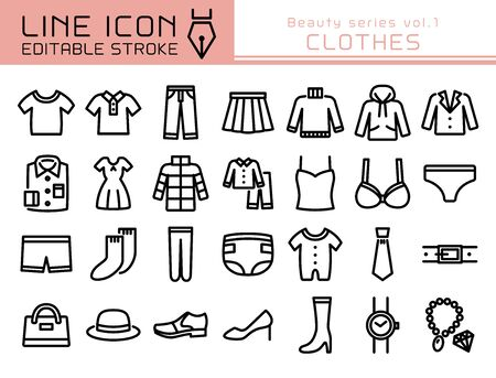 Clothes vector icon set. Editable line stroke. Illustration