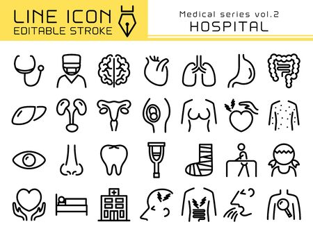 Hospital vector icon set. Editable line stroke.