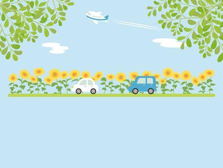 Landscape + driving + the + summer + suburbs + vector + illustration.