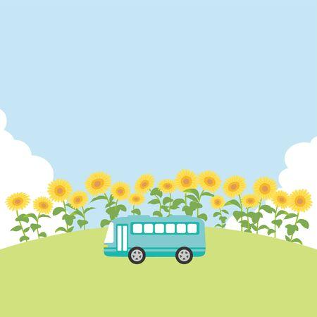 Summer + bus + tour + vector + illustration.
