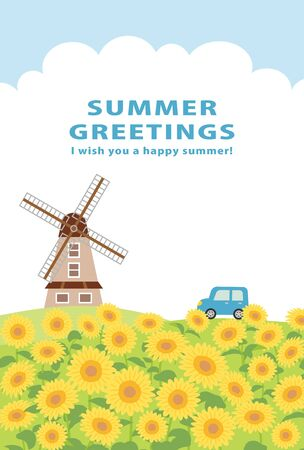 Summer greeting card vector illustration. sunflower field landscape.