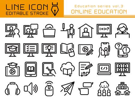 Online education vector icon set. Editable line stroke.