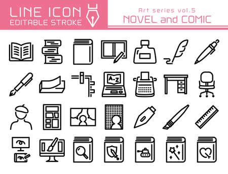 Novel and comic vector icon set. Editable line stroke.