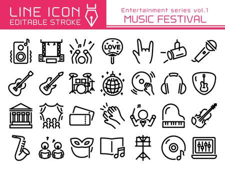 Music festival vector icon set. Editable line stroke.