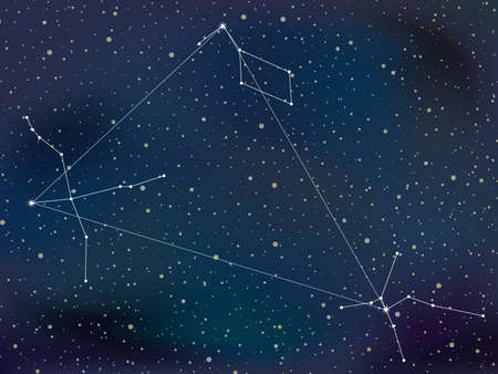 The night sky with the summer triangle. vector illustration.