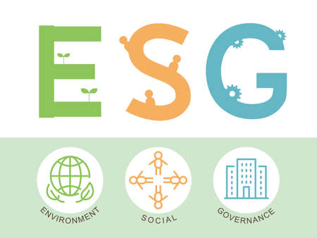ESG vector infographic. environment, social, governance. Векторная Иллюстрация