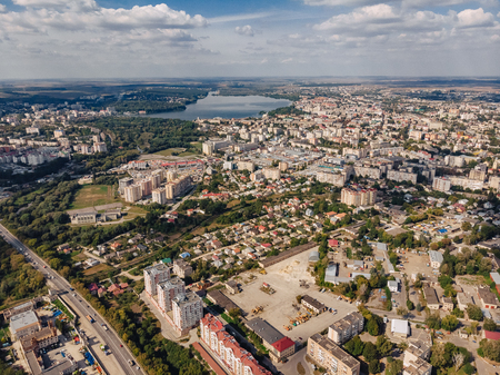 landscape view over city on summer sunny day with clouds aerial and view to lake, Ukraine, Ternopil Stockfoto