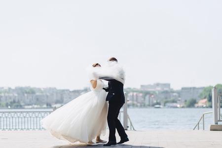 The brides are walking together, a festive wedding day walk Banco de Imagens