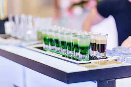 alcohol at celebrations in glasses and festive buffets Stock Photo