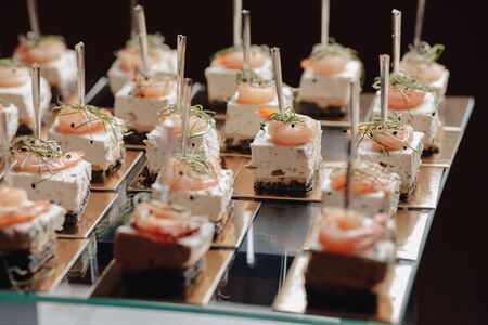 delicious festive buffet with canapés and different delicious meals salted and sweet