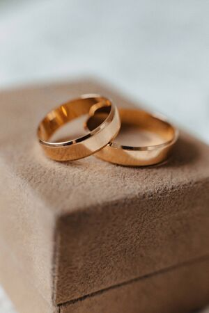 wedding rings closeup, wedding celebrations and accessories and decorations 写真素材