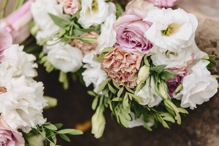 wedding bouquet and wedding decoration, flowers and wedding floral arrangements at party
