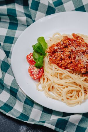 appetizing Italian pasta with meat 스톡 콘텐츠