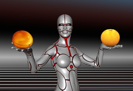 Market Robot Woman with oranges and apricoses photo