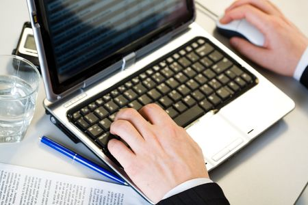 Image of male hands working on the laptop Stock Photo - 2427171