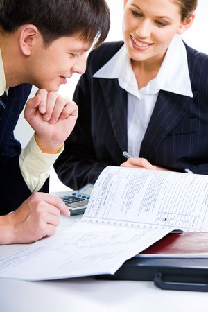 Business man and woman planning a new project together Stock Photo - 2428988