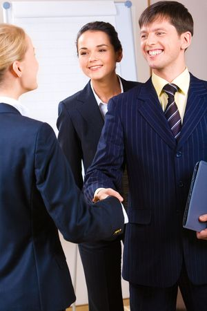Image of confident business people shaking hands at meeting   Stock Photo - 2428990