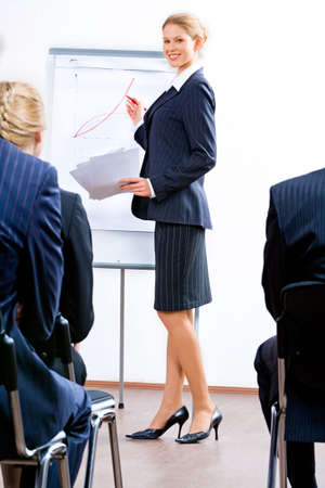 Portrait of successful specialist demonstrating a business project Stock Photo - 2464879