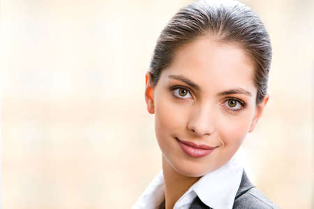 Face of beautiful business woman isolated on a white background Stock Photo - 2474924