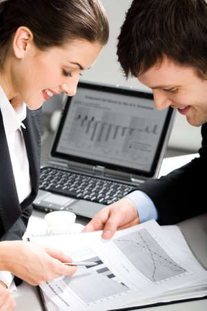 Image of two business people planning a new project in a working environment Stock Photo - 2529521